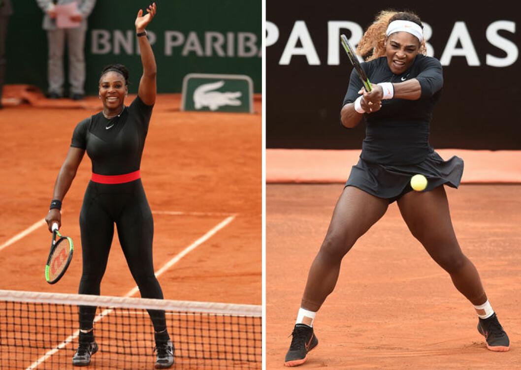 Serena Williams i leggings och i tenniskjol.