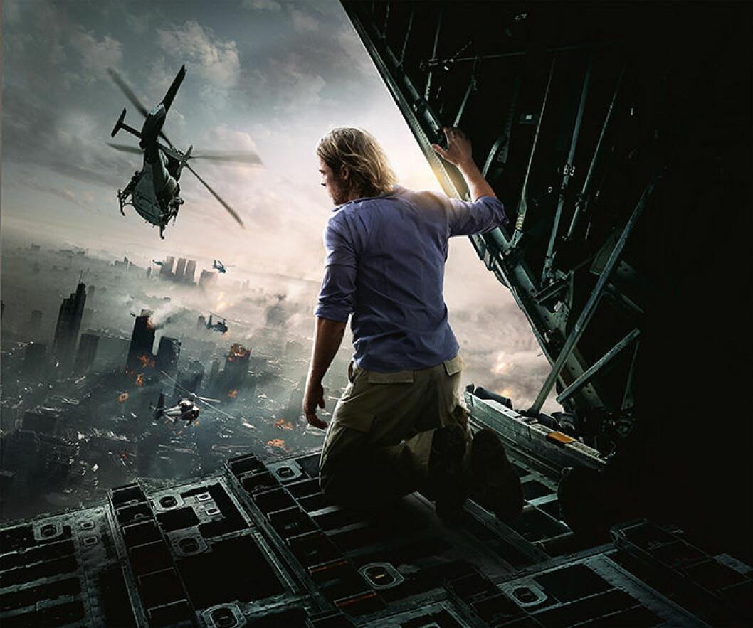 En bild från filmen World War Z på HBO med Brad Pitt.