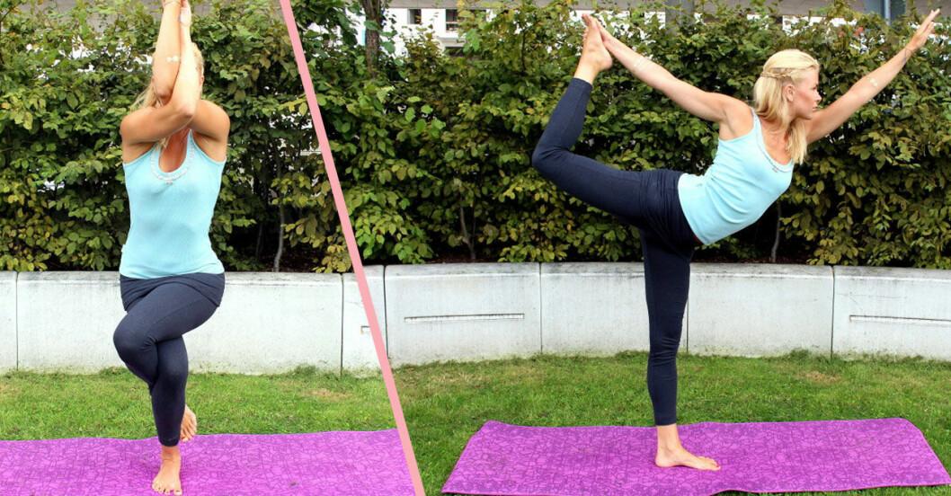 Yogapositioner nybörjare proffs eagle och dancer