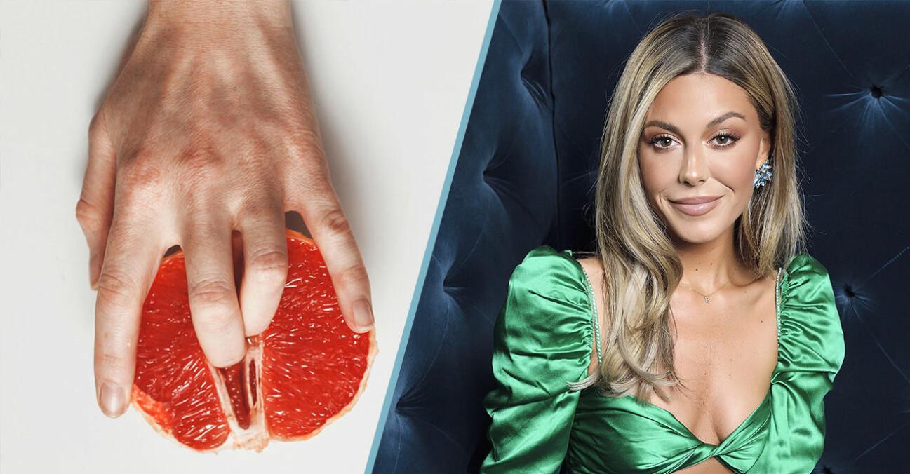 Bild på en grapefrukt och en hand/ Bianca Ingrosso.